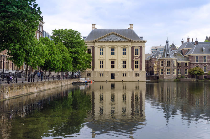 The Hague, Netherlands - May 8, 2015: People visit Mauritshuis Museum in The Hague, Netherlands. stock photo