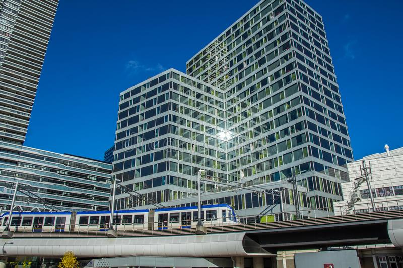 Light rail system in modern city royalty free stock image