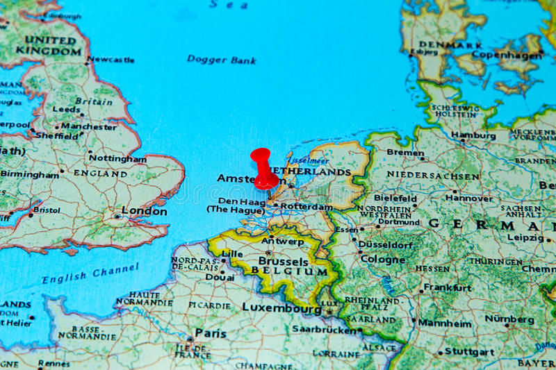 The Hague Netherlands Pinned On A Map Of Europe Stock Photo Image