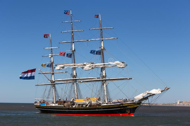 The hague, the hague/netherlands - 01 07 18: sailing ship stad amsterdam on the ocean the hague netherlands. With full flags royalty free stock photos
