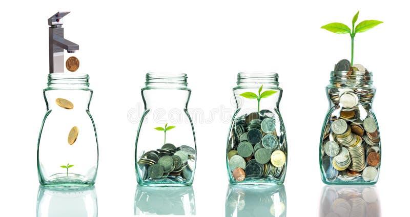 Hahn, der Mischungsmünzen und -samen in klare Flasche einsetzt lizenzfreies stockfoto