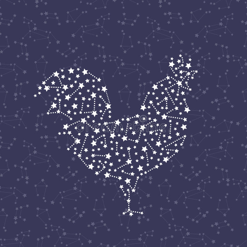Hahn - guten Rutsch ins Neue Jahr-Symbol 2017 auf Himmelhintergrund lizenzfreie abbildung