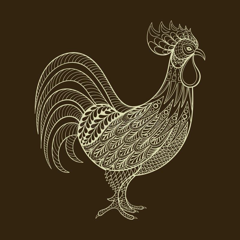 Hahn, Huhn, inländischer Landwirt Bird für Färbungsseiten, zenta lizenzfreie abbildung