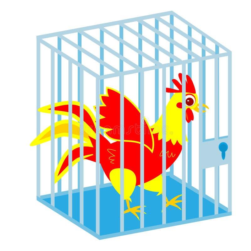 Hahn im Käfig auf Weiß lizenzfreie abbildung