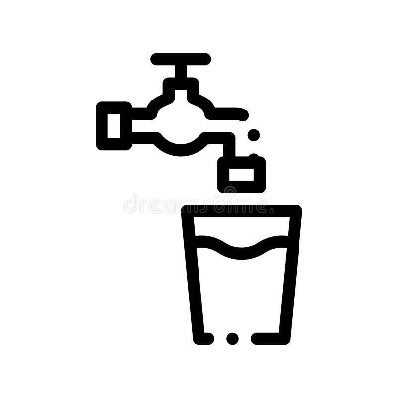 Hahn mit Wasser-Glasvektor-Zeichen-dünner Linie Ikone lizenzfreie abbildung