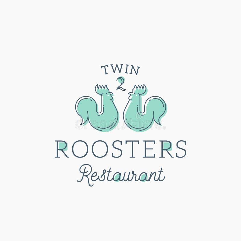 Hahn-Restaurant-Zusammenfassungs-Vektor-Zeichen, Symbol oder Logo Template Flache Art-Hahn-Zwillinge mit Retro- Typografie stock abbildung