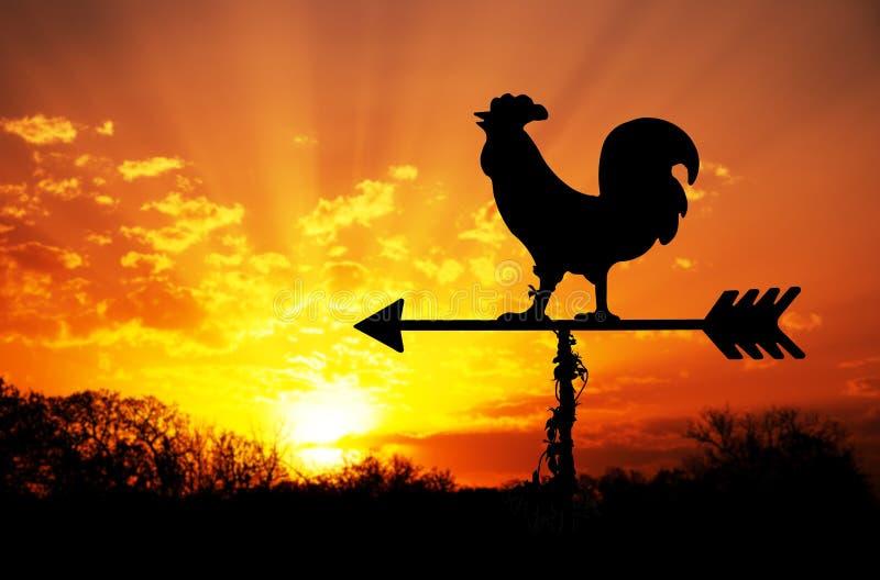 Hahn Weathervane gegen Sonnenaufgang stockbild