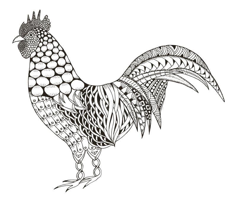 Hahn zentangle stilisierte, vector, Illustration, Muster, freeh lizenzfreie abbildung