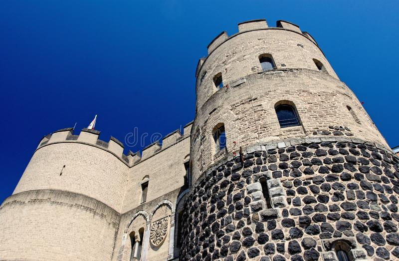Historical city wall tower. Hahnentorburg, part of the historical medieval city wall in cologne stock image