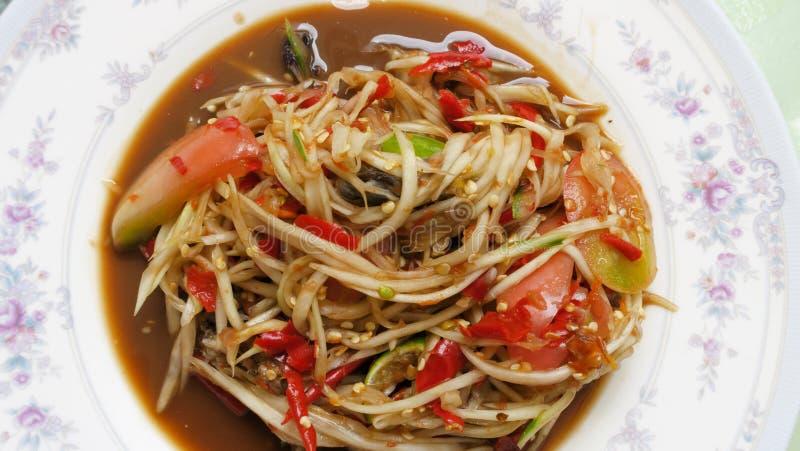 Hai Food: saque da salada da papaia com vegetais foto de stock royalty free