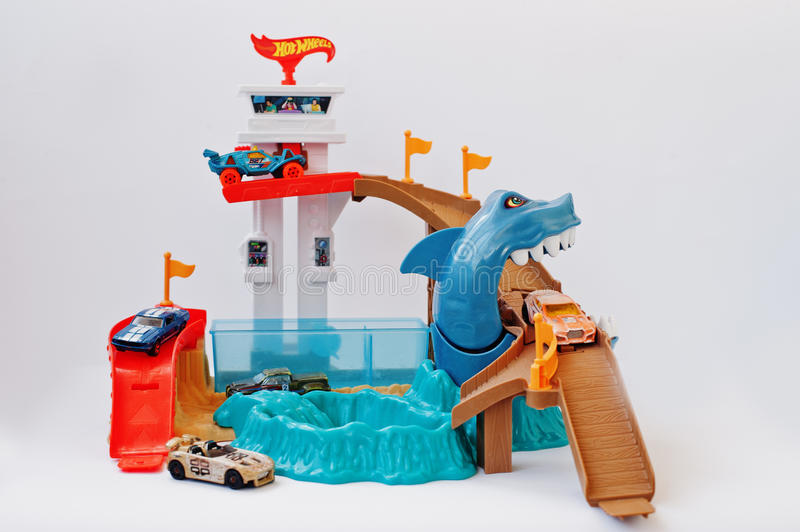 Hai, Ukraine - March 1, 2017: Hot wheels track with large shark. And cars. Hot Wheels is a scale die-cast toy cars introduced by American toy maker Mattel in royalty free stock images