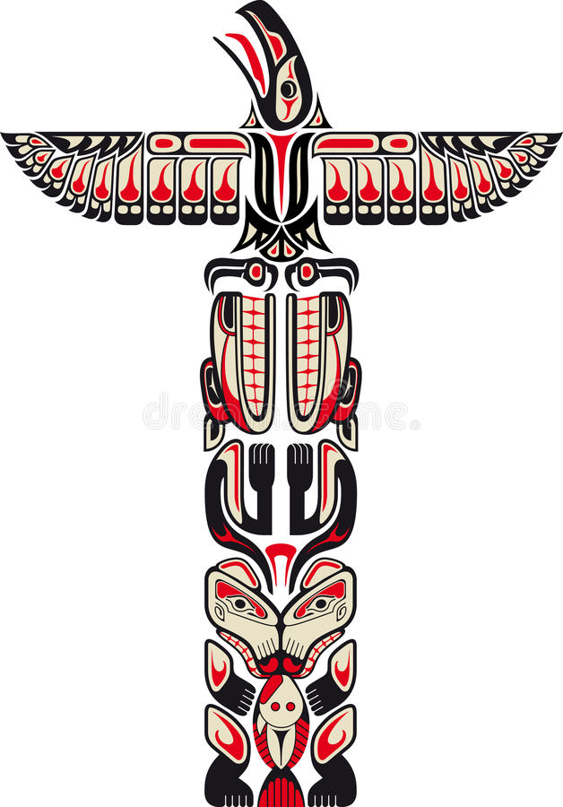 Haida style totem pattern stock illustration