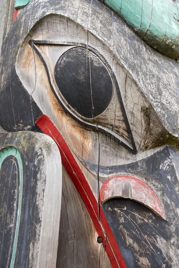 Haida Totem Pole Close Up immagini stock libere da diritti