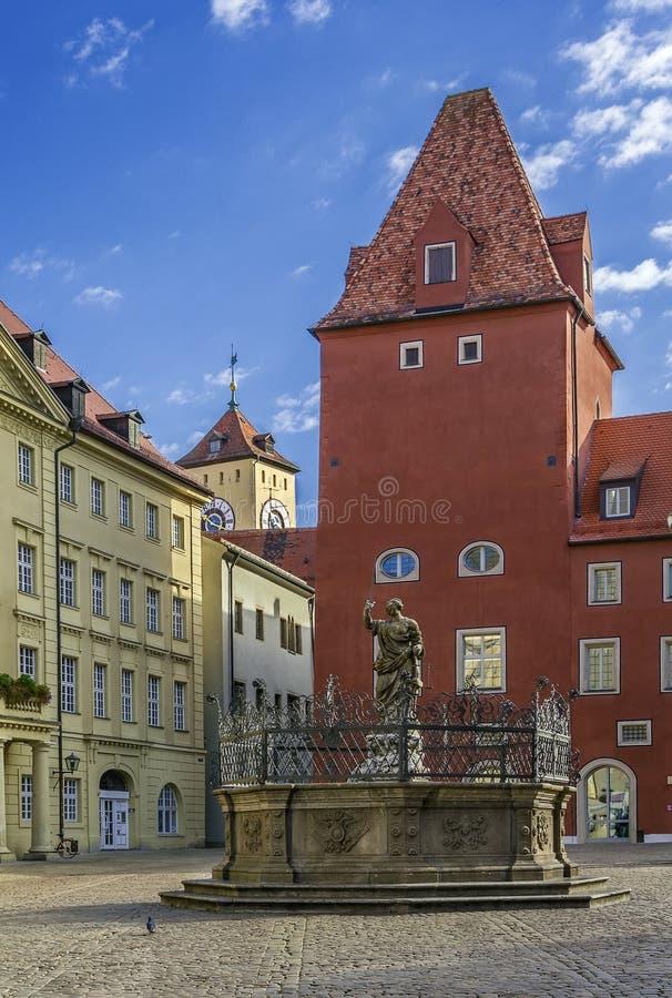 Haidplatz广场在雷根斯堡,德国 免版税库存照片