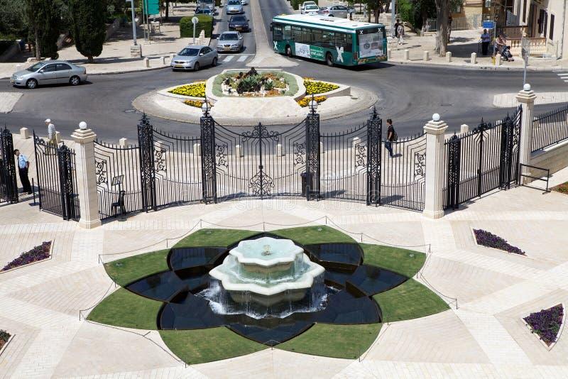 Haifa Bahai trädgård arkivfoton