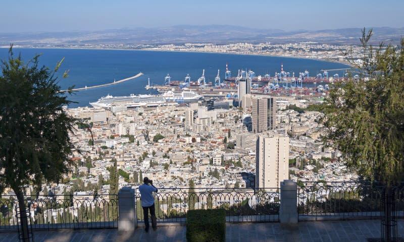 Haifa Bay en Haven in Noordelijk Israël stock foto's