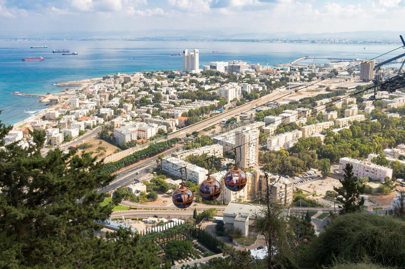 Haifa Cable Cars en Israël photographie stock