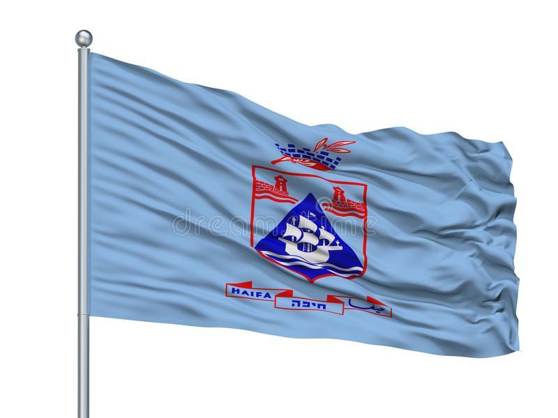 Haifa City Flag On Flagpole, Israel, aislado en el fondo blanco libre illustration