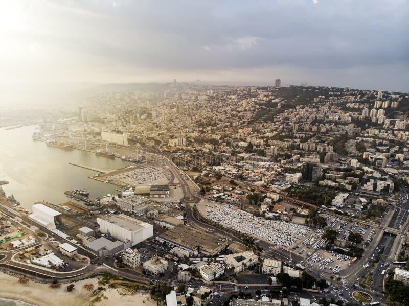 Haifa city and harbor. Panoramic view of Haifa city and harbor, Mediterranean Sea, Israel. Sunlit shot of Haifa port from above. Scenic view on Haifa and stock images