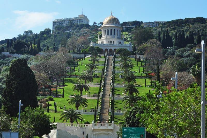 Haifa, de schoonheid van de Baha'i-Tuinen. royalty-vrije stock fotografie