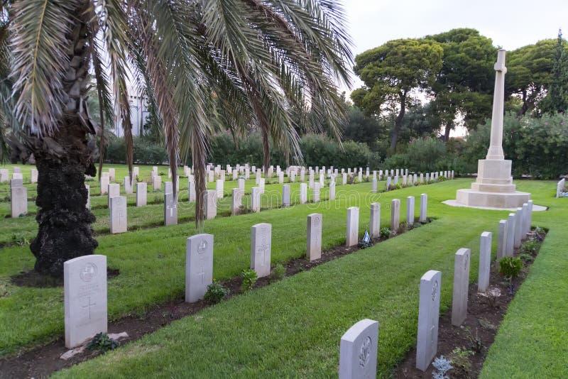 HAIFA, ISRAËL - 21 Oktober 2018: Kerkhof voor Britse militairen die tijdens het Britse mandaat 1918-1948, in Haifa van de binnens royalty-vrije stock foto