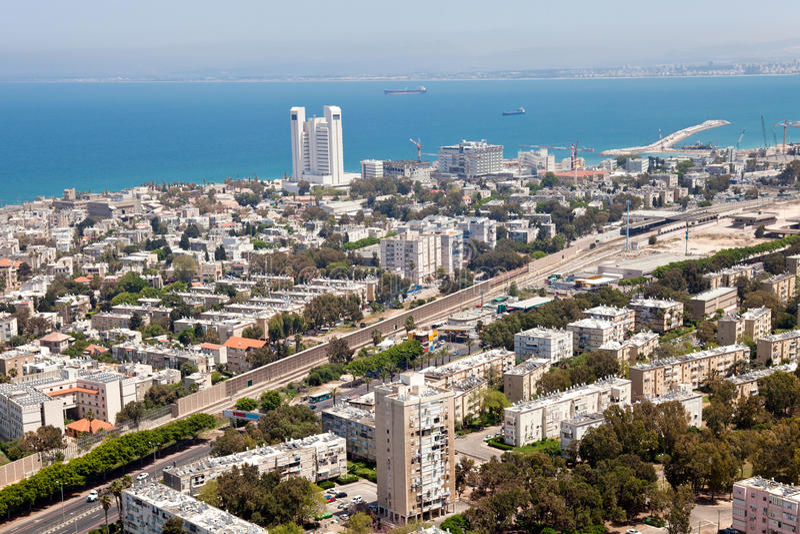 Haifa, Israel. City of Haifa with the harbor at the back, Israelcity of Haifa with the harbor at the back, Israel stock photos