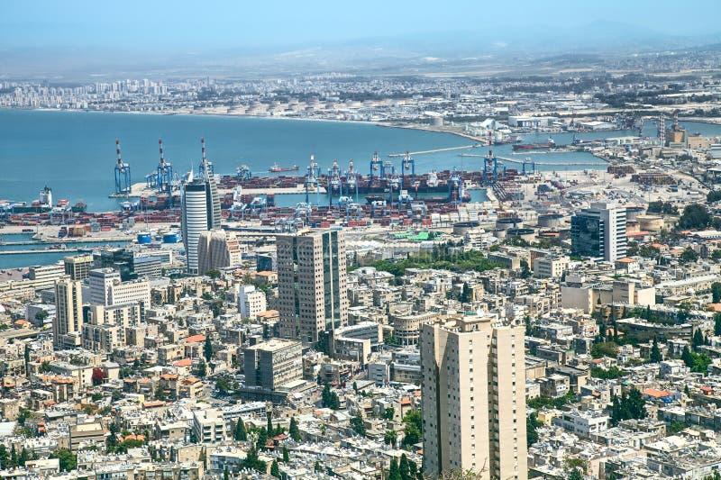 Haifa, Israel. City of Haifa with the harbor at the back, Israelcity of Haifa with the harbor at the back, Israel stock photography