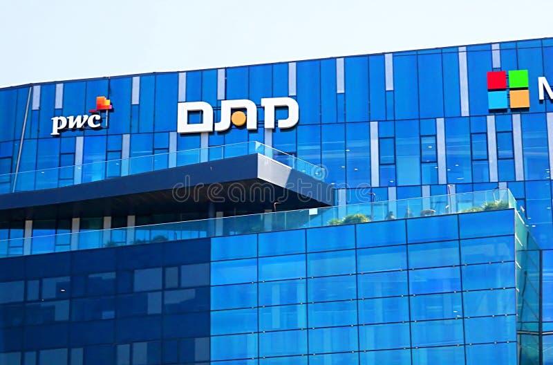 View of office building with famous logos PWC in Haifa MATAM high tech campus, Haifa, Israel. View of office building with famous logos PWC in Haifa MATAM high stock photos