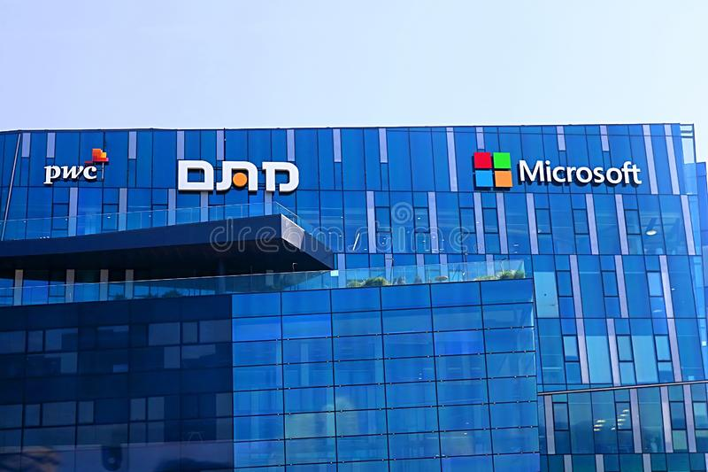 View of office building with famous logos PWC and Microsoft in Haifa MATAM high tech campus, Haifa, Israel. View of office building with famous logos PWC and royalty free stock image