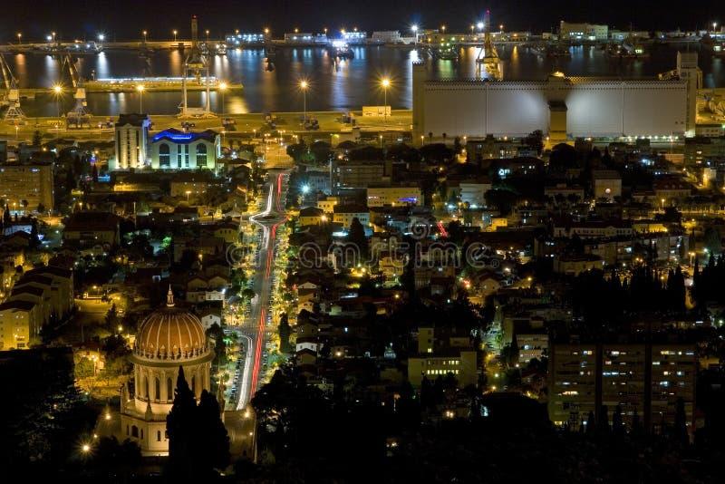 Haifa at night stock photography