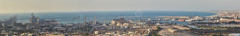 Haifa przemysłowy port, powietrzna panorama krajobrazu fotografia obrazy stock