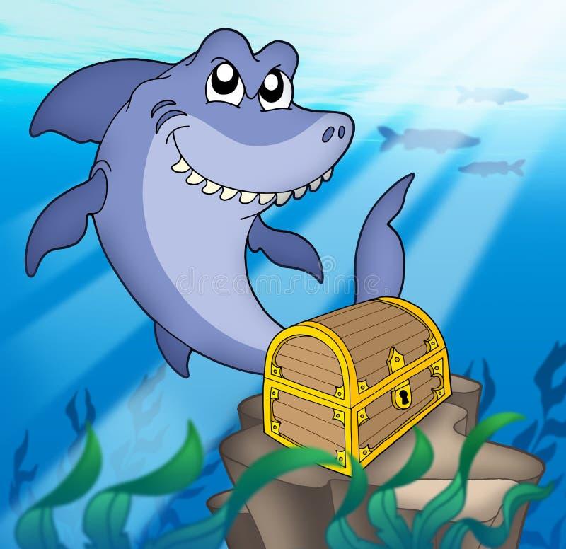 Haifisch mit Schatzkasten stock abbildung