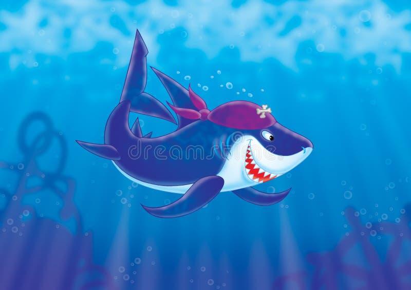 Haifisch-Pirat stock abbildung