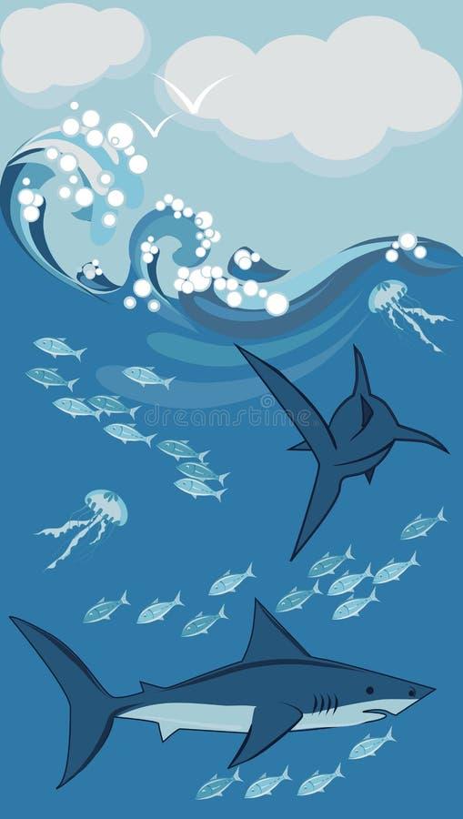 Haifische und Fische, Unterwasser lizenzfreie abbildung
