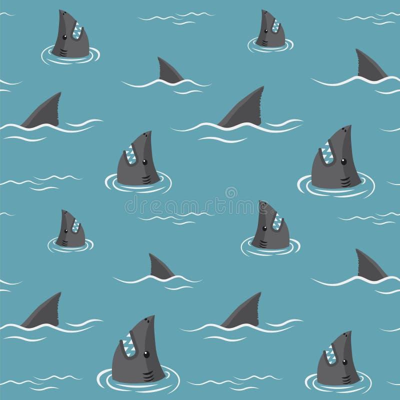Haifischflossen und Haifischköpfe - nahtlose Muster stockfotografie