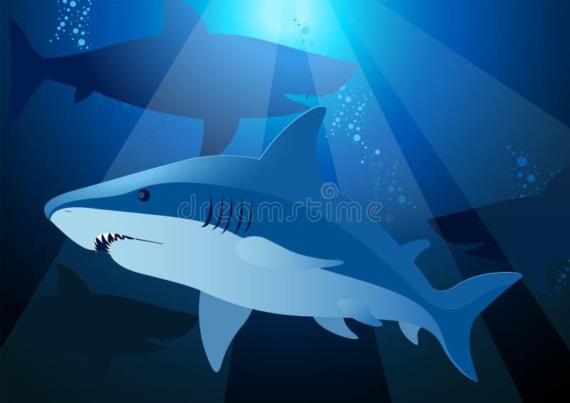 Haifischschwimmen unter dem Meer mit Sonnenlicht stock abbildung