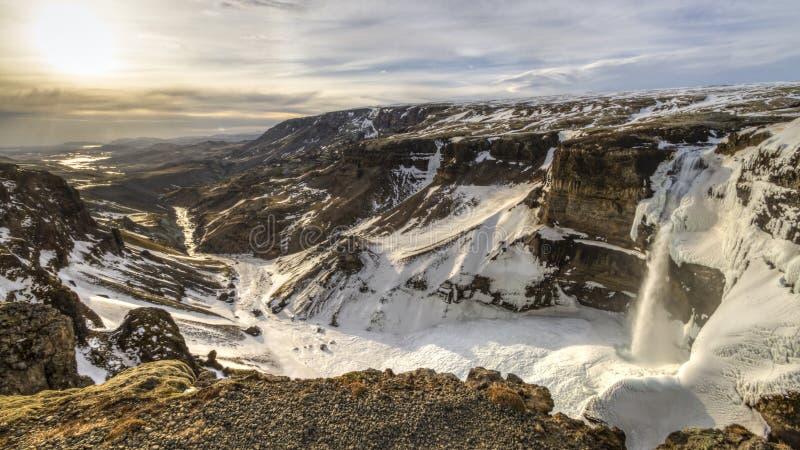 Haifoss et Fossa River Valley Sun photo stock