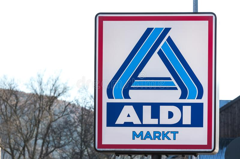 Haiger, hesse/germany - 17 11 18: aldi sign in haiger germany royalty free stock photography