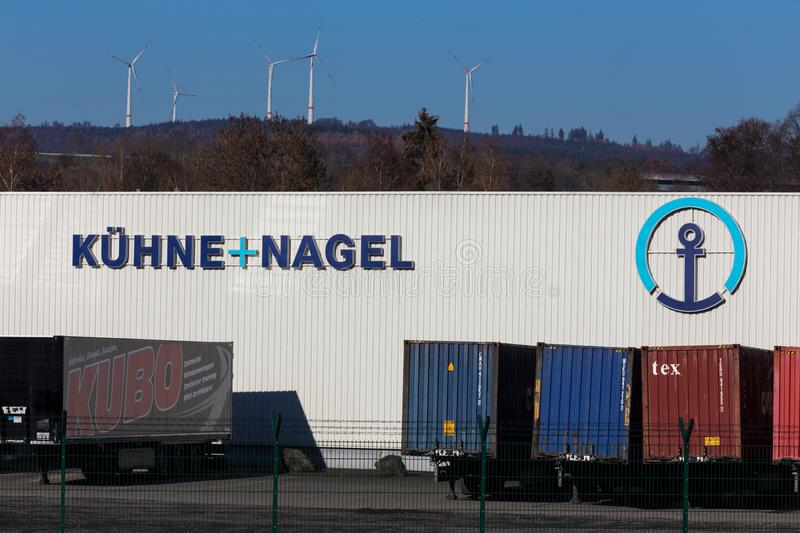 Haiger, hesse/germany - 17 11 18: kühne und nagel sign in haiger germany. Haiger, hesse/germany - 17 11 18: a kühne und nagel sign in haiger germany stock photo