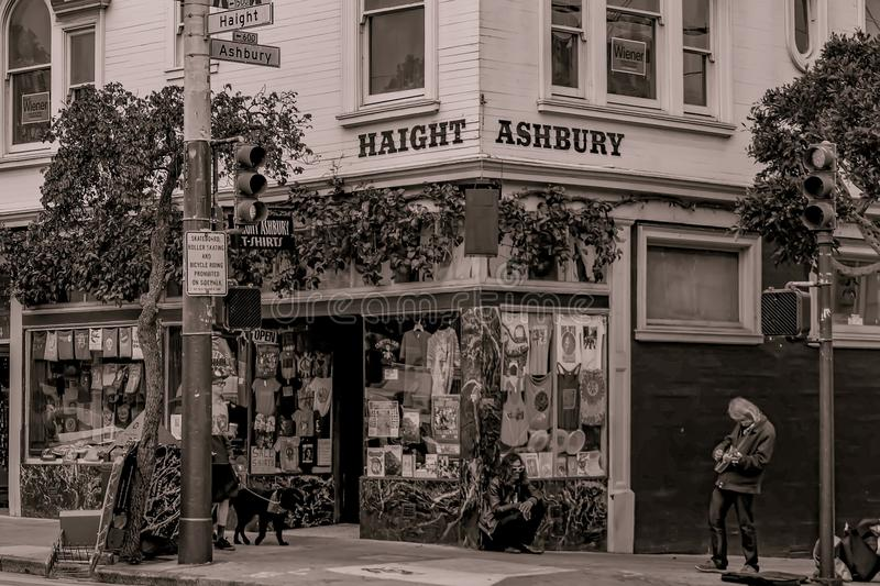 Haight-Ashbury Street Sign 2. San Francisco Haight-Ashbury district signpost street sign sepia tone musician iconic - Photographer: Steven Styles royalty free stock images