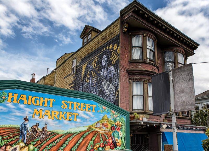 Haight Street Market and mural of Jimi Hendrix, Haight-Ashbury n royalty free stock photo