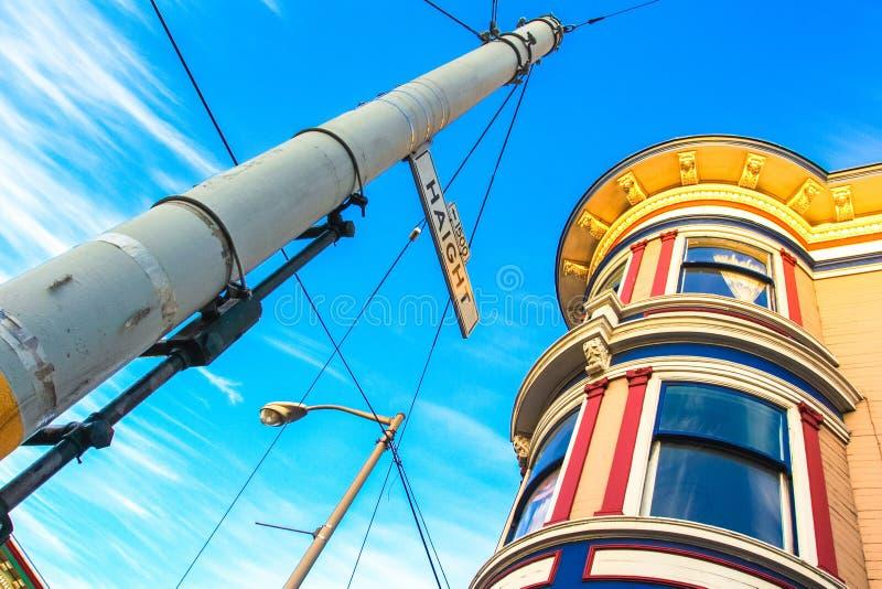 Haight Street unterzeichnen herein San Francisco stockfotos