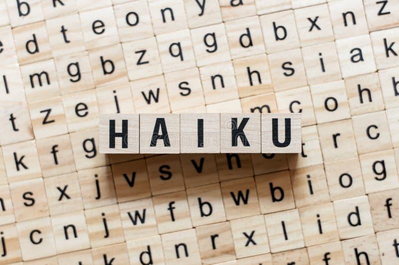 Haiku słowa pojęcie na sześcianach obrazy royalty free