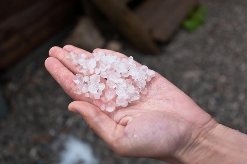 Hail on hand. stock images