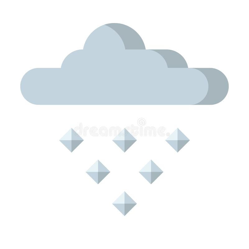 Hail icon. Gray cloud, falling ice from the sky stock illustration