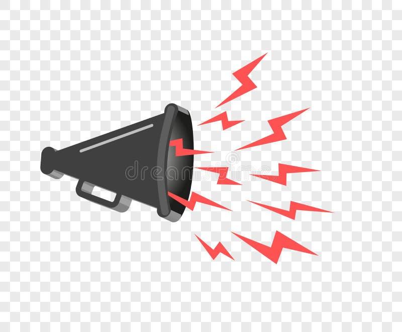 hailer för megafon som 3D högt talar för att vända Solida vågor riktas Vektordesignbeståndsdel, symbol på isolerad bakgrund royaltyfri illustrationer