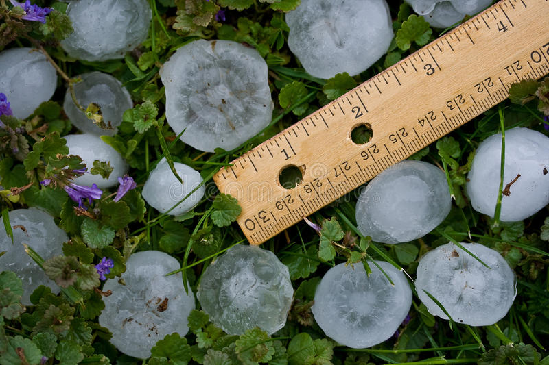 Hailstones from Severe Summer Storm stock photo