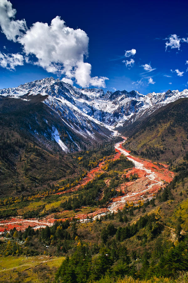 Hailuogou red stone beach. The red stone beach of Mount Gongga in Hailuogou (Conch Gully) National Glacier Forest Park in China. Mount Gongga is high 7556m, is stock photo