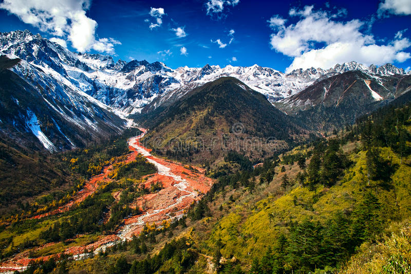 Hailuogou red stone beach. The red stone beach of Mount Gongga in Hailuogou (Conch Gully) National Glacier Forest Park in China. Mount Gongga is high 7556m, is royalty free stock photo
