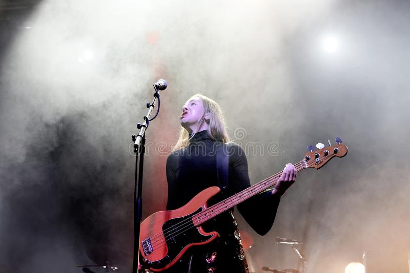 Haim indie music band perform in concert at Primavera Sound 2017 royalty free stock image